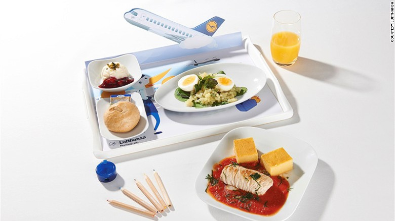 Chicken or fish? Bleh. Lufthansa's inflight menu may include Butterfly Dream (gnocchetti pasta salad with shrimp), Potato Sunset (wedges with tomato sauce) or Flying Dumplings (white bread and cheese dumplings on mushroom ragout).