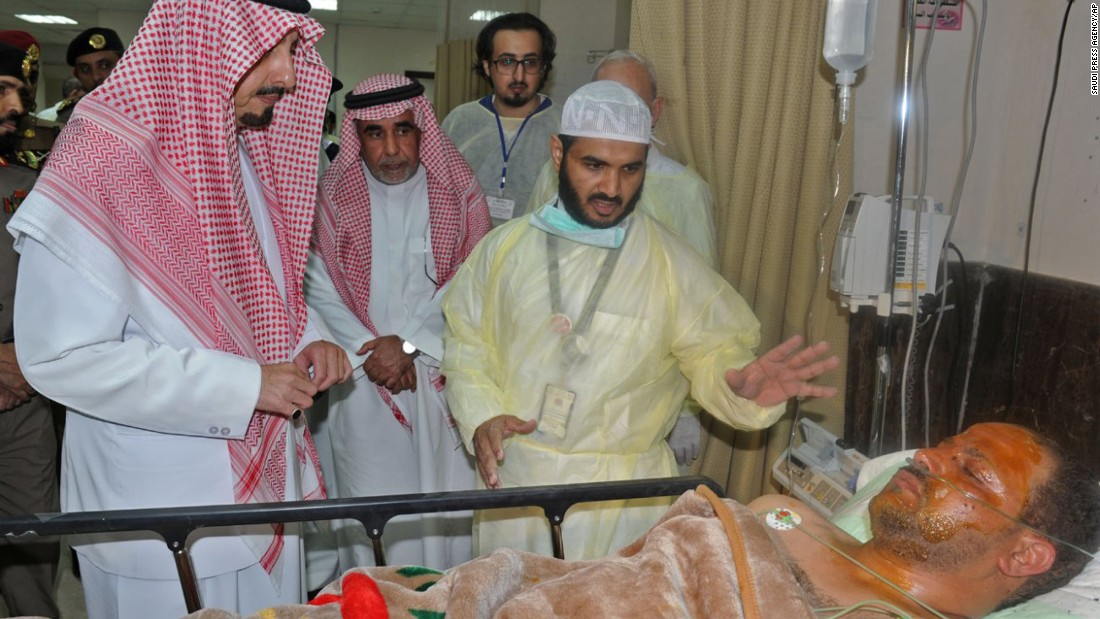 The administrator of a Asir segment in Saudi Arabia, Prince Faisal bin Khaled bin Abdulaziz, left, visits a male who was bleeding in lt;a href=quot;http://www.cnn.com/2015/08/06/middleeast/saudi-arabia-mosque-attack/quot; target=quot;_blankquot;gt;a self-murder bombing dispute on a mosquelt;/agt; in Abha, Saudi Arabia, on Aug 6. ISIS claimed shortcoming for a explosion, that killed during slightest 13 people and harmed 9 others.