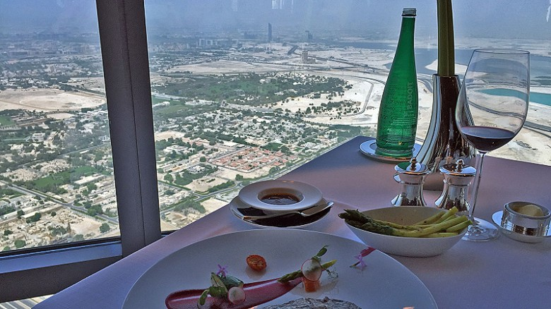 The view, and the food, comes at a price. Thirty grams of Oscietre Caviar costs $210. A bottle of Domaine de la Romanee-Conti, La Tache Grand Cru, Cote de Nuit, 2000 goes for $18,000.
