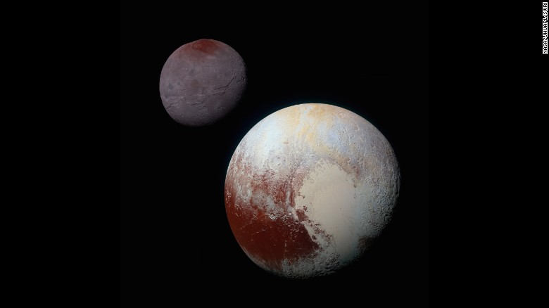 "<a href=""https://www.nasa.gov/feature/pluto-s-big-moon-charon-reveals-a-colorful-and-violent-history"" target=""_blank"">This composite of enhanced color images</a> shows the striking differences between Pluto (lower right) and its largest moon, Charon (upper left). NASA says the color and brightness of the two worlds have been processed identically to allow for direct comparison. Pluto and Charon are shown with approximately correct relative sizes, but their true separation is not to scale."