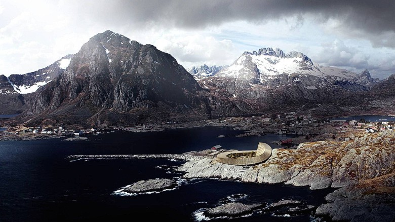 The Lofoten Opera Hotel contrasts beautifully with its rocky surroundings.