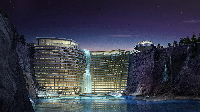 Carved into the edge of an abandoned quarry outside Shanghai, this five-star resort is due for completion in early 2017. It'll feature 328 rooms cascading down a rugged cliff face toward a 90-meter-deep lagoon with the lowest levels of the property located below water.