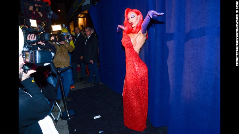 """Jessica Rabbit, is that you? Heidi Klum dressed as the iconic """"Who Framed Roger Rabbit?"""" character for her 16th annual Halloween party in New York."""