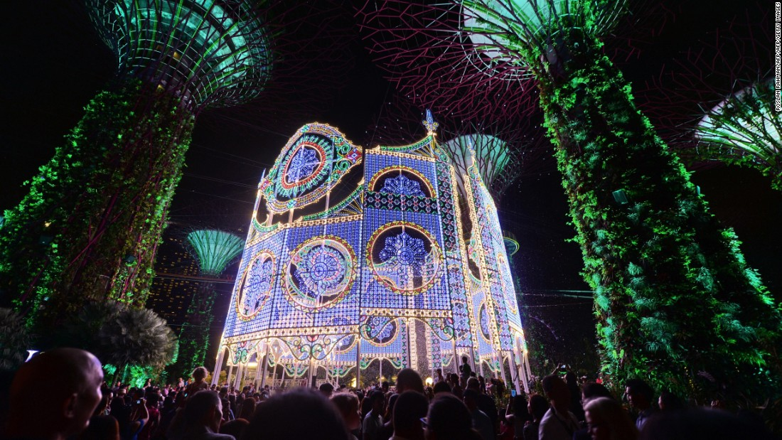 The Luminarie light sculpture at Singapore's Garden by the Bay becomes a huge attraction during the holiday season.