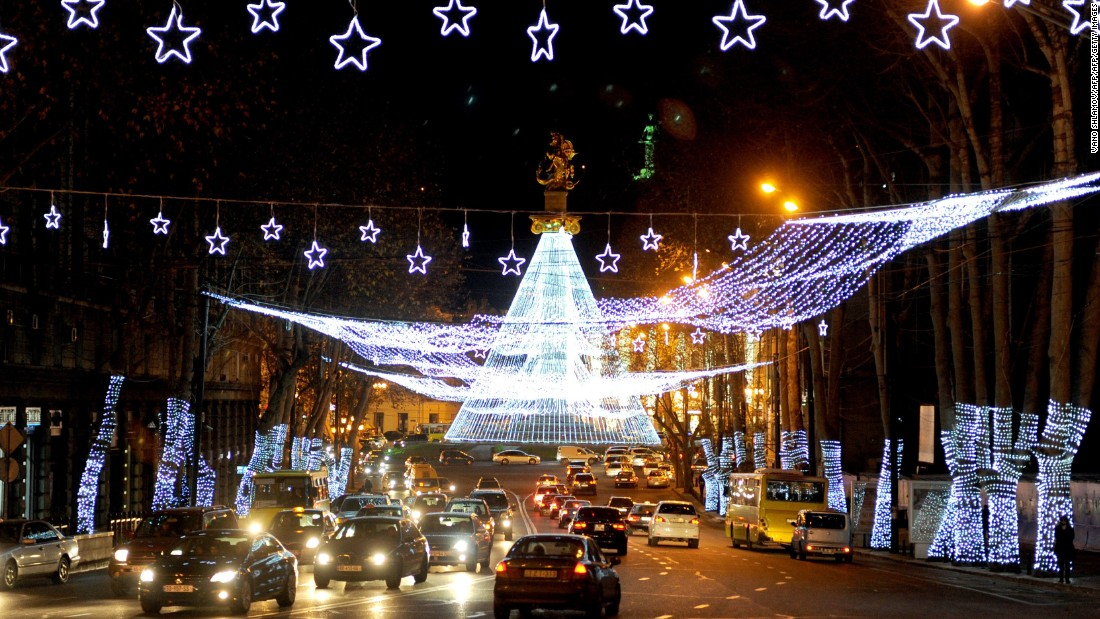 Georgia's capital city goes all ethereal with a Christmas light show that makes rush hour a lot more interesting.