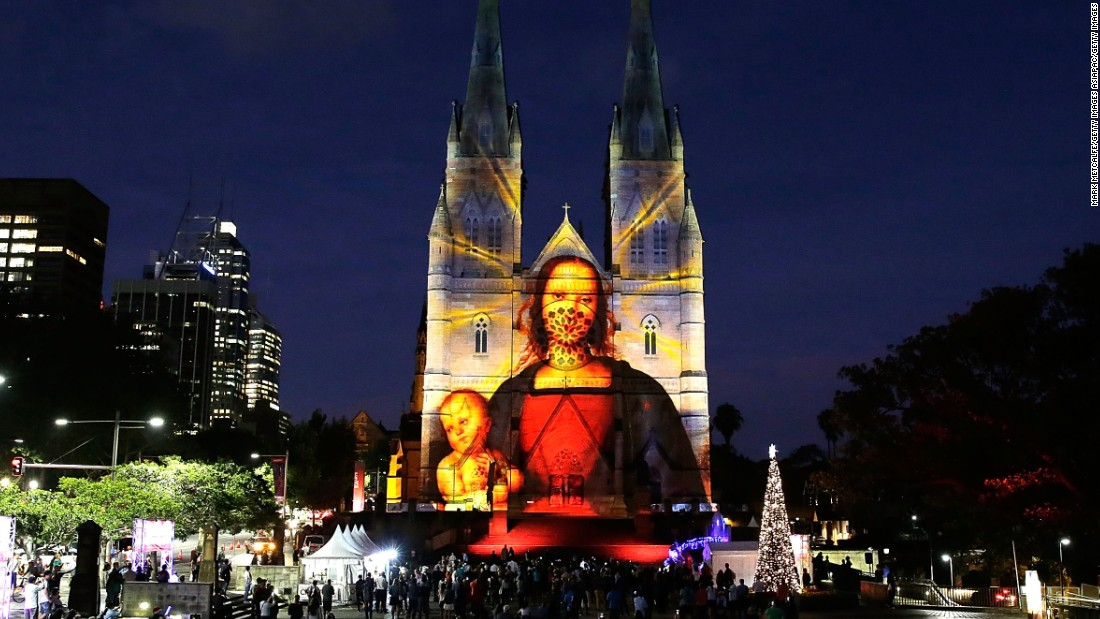 In Australia, St. Mary's Cathedral projects spectacular light shows during the season.