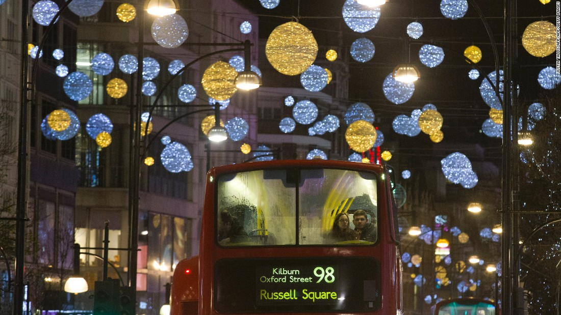 Even riding a bus through Oxford Street in central London can put you in the Christmas mood.
