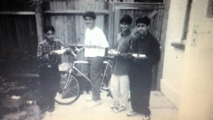 Siddhartha Dhar (on bike) with his local friends. Photo provided by Dhar's sister, Konika Dhar.