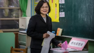 Democratic Progressive Party presidential candidate Tsai Ing-wen casts her ballot.