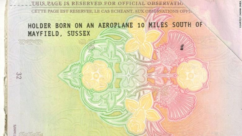 Birthplace bragging rights: Owen's unusual passport.