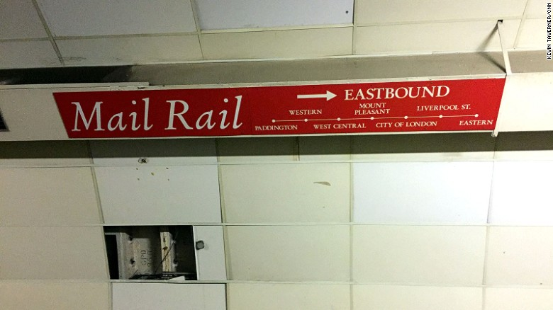 A sign displays the network of Mail Rail stations beneath the city. These were situated beneath the city's main postal sorting depots.