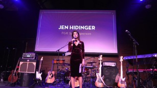 Jen Hidinger speaks at the 2016 Team Hidi event in Atlanta, Georgia.