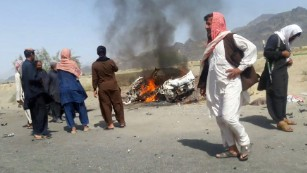 Scene from reported strike on Taliban leader