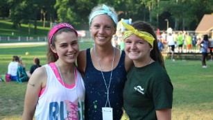 Abi Yates, left, with other college student volunteers at Indiana University's Camp Kesem chapter in 2015.