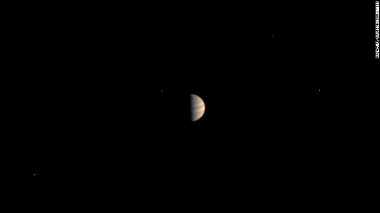 This was the final view of Jupiter taken by NASA's Juno spacecraft before the on-board instruments were powered down to prepare for orbit. The image was taken on June 29, 2016, while the spacecraft was 3.3 million miles (5.3 million kilometers) from Jupiter.