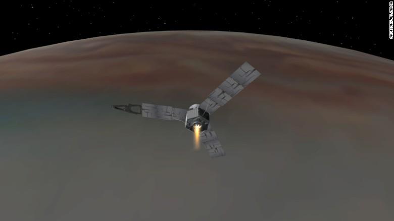 Illustration depicting NASA's Juno spacecraft successfully entering Jupiter's orbit.