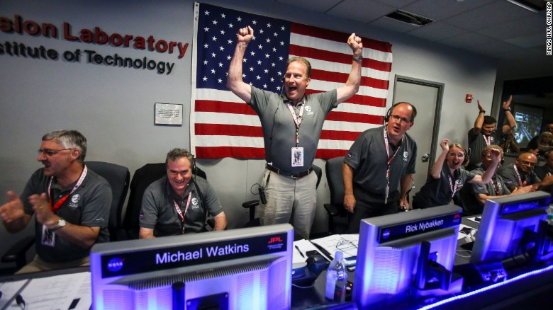 The Juno team celebrates at Mission Control at NASA's Jet Propulsion Laboratory in Pasadena, California.