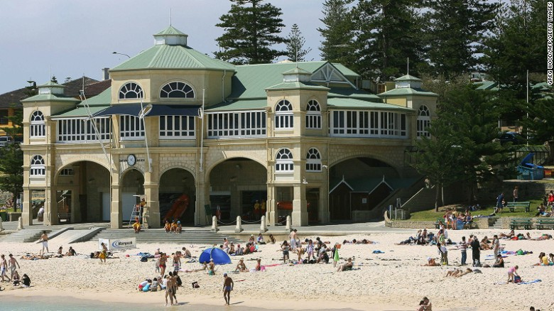 Great beaches are among the attractions of Australia's west coast city of Perth. With hot summers and mild winters, the city has a reputation for outdoor activities including water sports and cycling.
