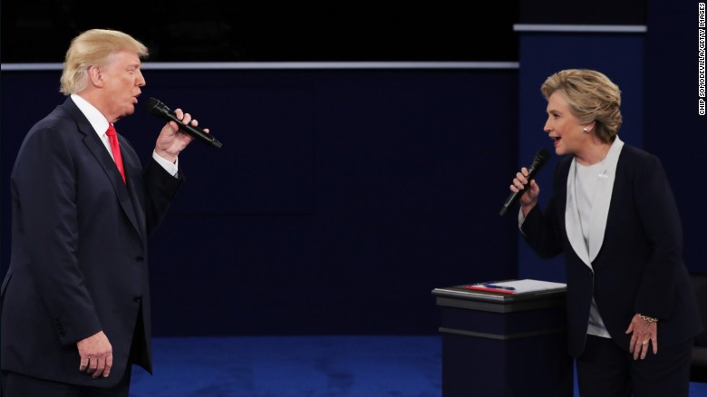 Republican nominee Donald Trump faces off with Democratic nominee Hillary Clinton during the second presidential debate, which took place Sunday, October 9, at Washington University in St. Louis.