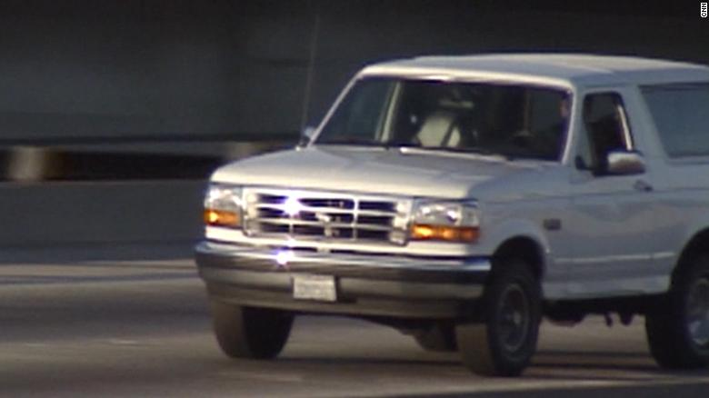 Image for 25 years ago today, America stopped to watch the cops chase O.J. in a white Ford Bronco