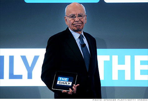 News Corp. CEO Rupert Murdoch shows off The Daily, an iPad-only newspaper. No other major publishers have yet signed on with Apple's subscription strategy.