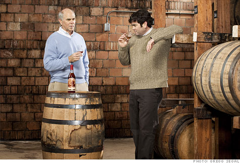 The scarcity strategists: Julian Van Winkle III (left) with his son, Preston, at Buffalo Trace Distillery in Frankfort, Ky.