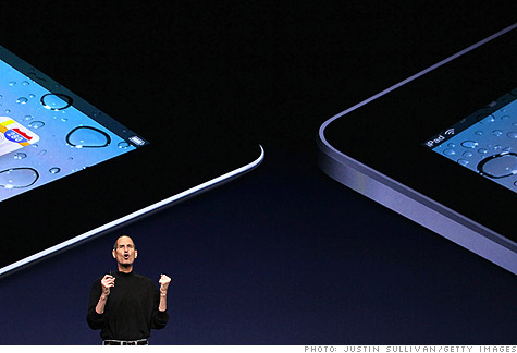 Apple CEO Steve Jobs introduced the iPad 2 (left), which is 33% thinner than the original iPad.