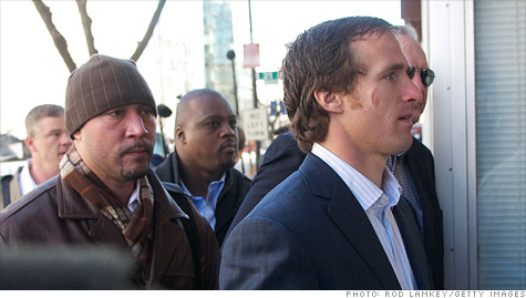 New Orleans Saints quarterback Drew Brees, right, heads into labor talks with the league's negotiators.