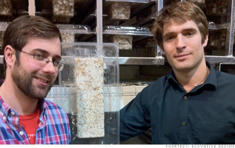 Ecovative Design co-founders Gavin McIntyre and Eben Bayer began working on their eco-friendly packaging technology in college.