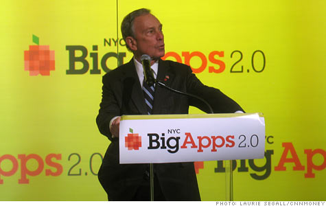 NYC Mayor Michael Bloomberg, during his BigApps 2.0 speech, is turning public city databases over to entrepreneurs, whom he hopes will launch new tech businesses atop them.