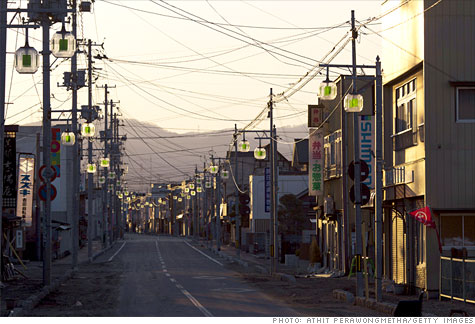A street sits deserted in Minamisoma, Japan, 12 miles from the Fukushima power plant.