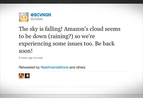 SCVNGR and other sites took to Twitter after a rare and major outage of Amazon's cloud-based EC2 Web service.