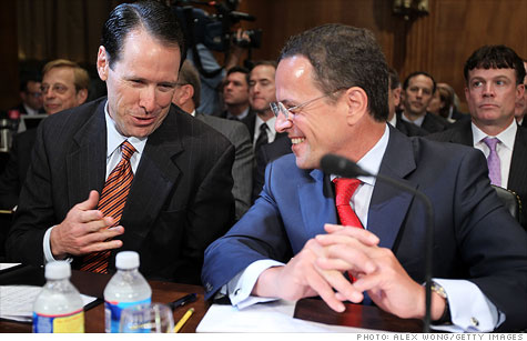AT&T CEO Randall Stephenson (left) chatted with T-Mobile USA CEO Philipp Humm as they waited for the start of a hearing before the Senate's Antitrust, Competition Policy and Consumer Rights Subcommittee