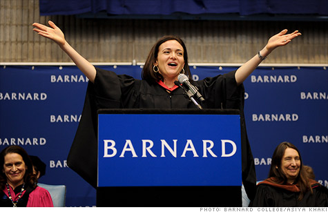 Facebook COO Sheryl Sandberg encouraged Barnard graduates to be aggressive in pursuing their path through government and business.