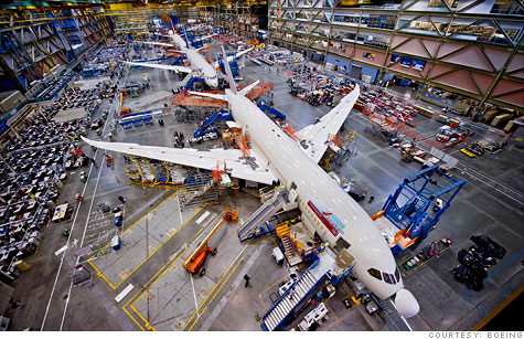 The Boeing 787 Dreamliner assembly line outside of Seattle. The NLRB wants to block Boeing from shifting work from this line to a new non-union plant in South Carolina.