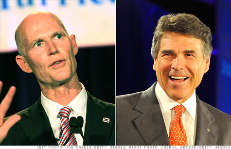 Florida Gov. Rick Scott, left, wants to make his state more business friendly than Gov. Rick Perry of Texas.