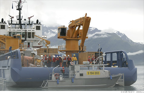 Shell's new oil spill containment ship in an exercise off the Alaskan coast. Oil companies want to drill in Arctic waters, but environmentalists say they don't have enough safety equipment in place.