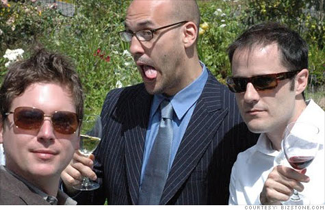 Twitter co-creators Biz Stone (left), Jason Goldman and Evan Williams are leaving to launch a new startup venture.