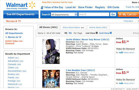 Wal-Mart is taking yet another shot at the movie download business by launching Vudu on Walmart.com.