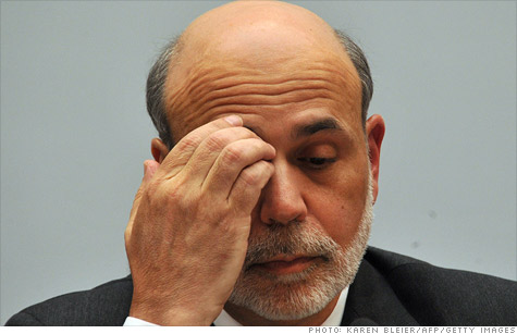 Federal Reserve chairman Ben Bernanke looks how the market feels. Worries are growing about the global economy and the Fed's pledge to keep rates low until 2013 did little to calm investors.