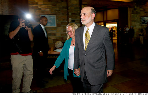 Fed Chairman Ben Bernanke and his wife Anna arrive at the economic conference in Jackson Hole, Wy.