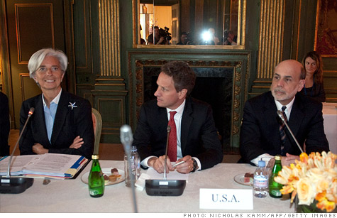 French Finance Minister Christine Lagarde, US Treasury Secretary Tim Geithner and Federal Reserve Chairman Ben Bernanke wait for the start of a meeting of G7 finance ministers in April.