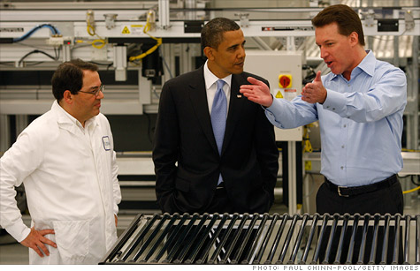 Investigation comes just days after the Obama-backed solar panel maker files for bankrupcy. Here, Obama at the Solynrda plant with founder Chris Gronet.