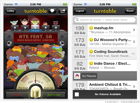 Turntable.fm's streaming music site -- released this week as an iPhone app -- lets you spin and share tunes with your friends.