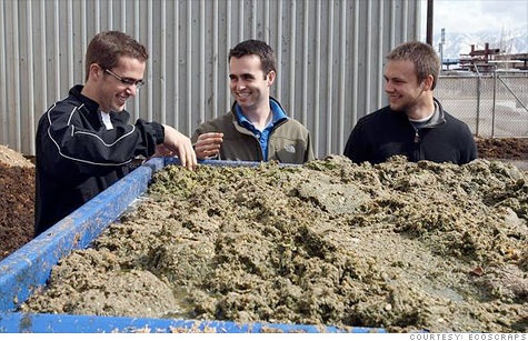 EcoScraps founders Craig Martineau (left), Dan Blake and Brandon Sargent show off their product: Compost made from trash.