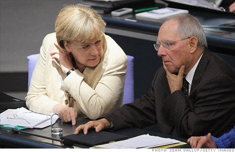 Wolfgang Schaeuble met at the Bundestag, where members of parliament voted in favor of expanding the euro zone bailout fund.