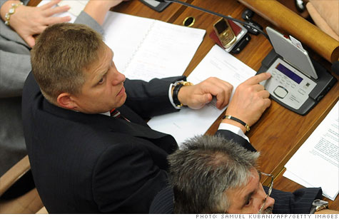 Slovak Smer-SD leader Robert Fico voted Thursday during a parliamentary session on the eurozone's debt rescue fund in Bratislava.