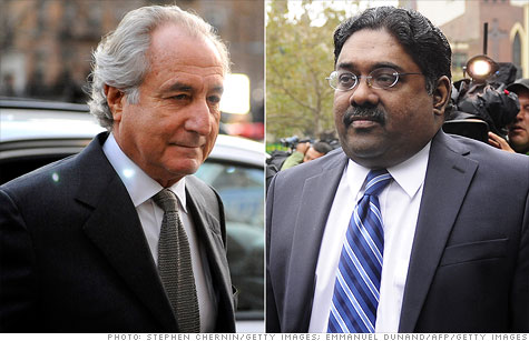 The lawyer for Raj Rajaratnam, right, requested that the white collar convict serve time at the same prison as Ponzi schemer Bernard Madoff, left.
