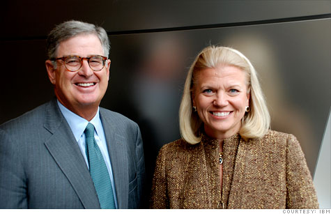 Sam Palmisano (left) will be replaced as IBM's CEO by Ginni Rometty on Jan 1, 2012.