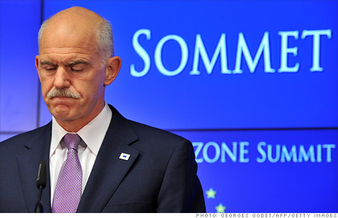 Greek Prime Minister George Papandreou has called for a referendum on the EU bail-out deal and a vote of confidence on his government.